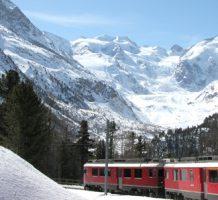 World class scenic winter train travel