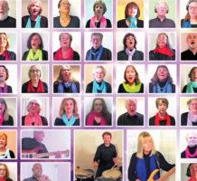 Choral singers enjoying virtual technology