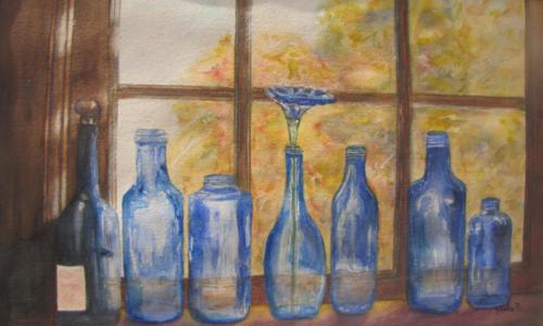 7 bottles on the shelf — LINDA OECHSLER