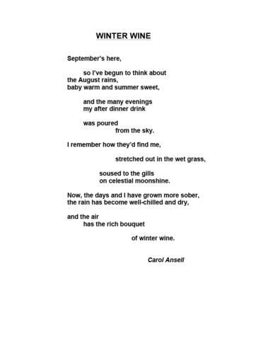 Winter Wine — Carol Ansell
