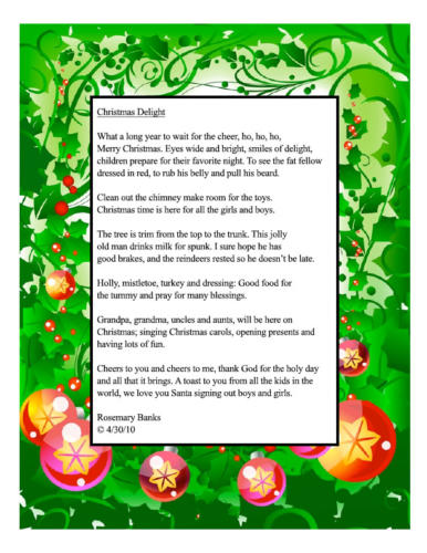 Christmas Delight Poem — Rosemary Banks