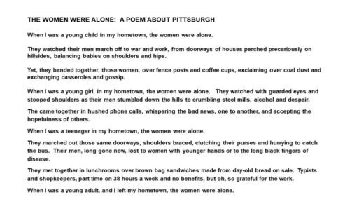 The Women Were Alone:  A Poem about Pittsburgh — Kathleen Powers