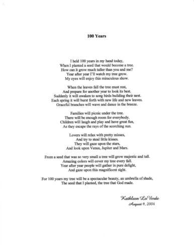 100 Years  — Kathleen Loverde