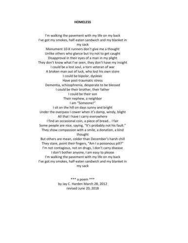 HOMELESS — Jay Harden