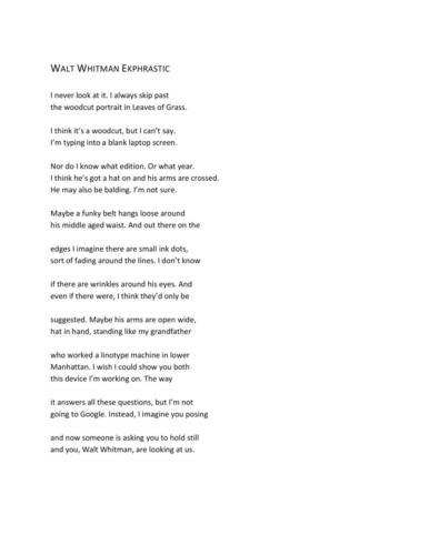 Walt Whitman Ekphrastic — Henry Crawford