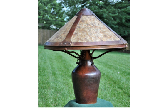 Handwrought copper lamp with 4-panel mica shade. Four sockets. - Michael Bryan Smith - 2nd Place