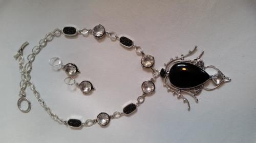 Onyx pendant with white crystal and black faux druzy links — Diane Clark