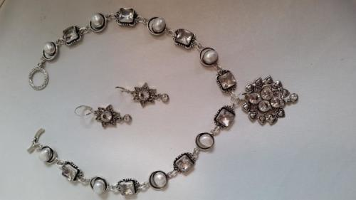 Silver plated white quartz and man-made pearl link necklace — Diane Clark