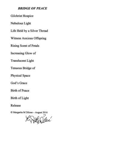 Bridge of Peace - Margarita Magdalena Dilone - Honorable Mention