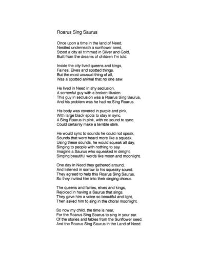 """Roarus Sing Saurus"" - Thomas Stephens Corbit - 3rd Place"